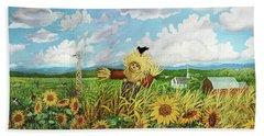 Scare Crow And Silo Farm Bath Towel by Bonnie Siracusa