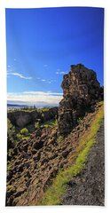 Scared Earth At The Mid-atlantic Rise In Thingvellir, Iceland Bath Towel by Allan Levin
