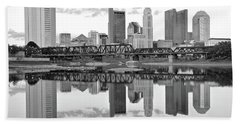 Bath Towel featuring the photograph Scarlet And Columbus Gray by Frozen in Time Fine Art Photography