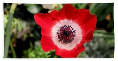 Scarlet Anemone Bath Towel by Living Color Photography Lorraine Lynch