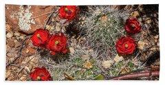 Scarlet Cactus Blooms Bath Towel