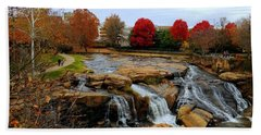 Scene From The Falls Park Bridge In Greenville, Sc Bath Towel