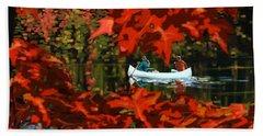 Scenic Autumn Canoe  Hand Towel