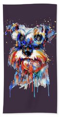 Hand Towel featuring the mixed media Schnauzer Head by Marian Voicu