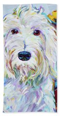 Bath Towel featuring the painting Schnoodle by Robert Phelps