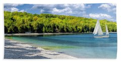 Schoolhouse Beach Panorama On Washington Island Door County Hand Towel