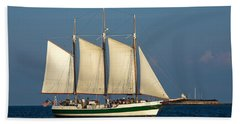 Schooner By Fort Sumter Hand Towel