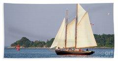 Schooner Cruise, Casco Bay, South Portland, Maine  -86696 Bath Towel by John Bald