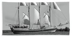 Schooner On Lake Michigan No. 1-3 Hand Towel by Sandy Taylor