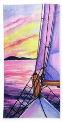 Sailboat Sunset Cruise On Schooner Surprise  Hand Towel