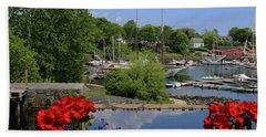 Schooners And Flowers, Camden, Maine Hand Towel