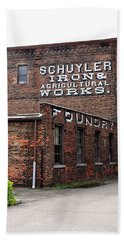 Hand Towel featuring the photograph Schuyler Iron Building by Trina Ansel