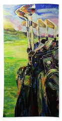 Schwarze Golftasche  Black Golf Bag Bath Towel by Koro Arandia