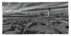 Scituate Lighthouse From The End Of The Jetty Bath Towel