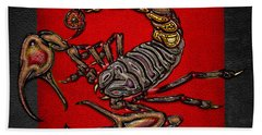 Scorpion On Red And Black  Hand Towel by Serge Averbukh