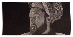 Hand Towel featuring the drawing Scott Darling Portrait by Melissa Goodrich