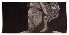 Bath Towel featuring the drawing Scott Darling Portrait by Melissa Goodrich
