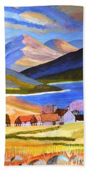 Bath Towel featuring the painting Scottish Highlands 2 by Magdalena Frohnsdorff
