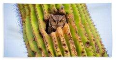 Screech Owl In Saguaro Bath Towel
