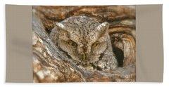 Screech Owl On Spring Creek Bath Towel