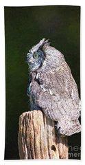 Screech Owl Profile Hand Towel