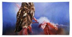 Screech Owl Bath Towel by Suzanne Handel