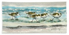 Scurrying Along The Shoreline 2  1-6-16 Hand Towel