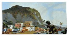 Sea And Mountain With Boats Hand Towel