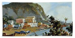 Sea And Mountain With Boats Bath Towel