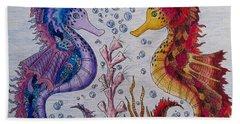 Sea Horses In Love Bath Towel