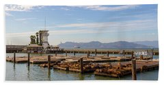 Sea Lions At Pier 39 In San Francisco Hand Towel