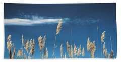 Hand Towel featuring the photograph Sea Oats On A Blue Day by Colleen Kammerer
