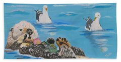 Bath Towel featuring the painting Sea Otter And Guardians by Phyllis Kaltenbach