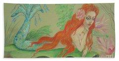 Sea Siren, Resting -- Whimsical Mermaid Drawing Bath Towel