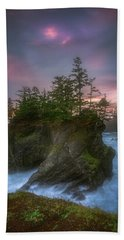 Sea Stack With Trees Of Oregon Coast Hand Towel