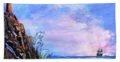 Hand Towel featuring the painting Sea Stories 2  by Andrzej Szczerski
