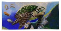 Sea Turtle Acrylic Painting Hand Towel