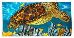 Sea Turtle And Atlantic Spadefish Hand Towel