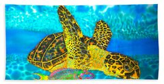 Sea Turtle And Parrotfish Bath Towel