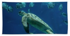 Hand Towel featuring the photograph Sea Turtle by Barbara Bowen