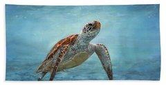 Sea Turtle Bath Towel by David Stribbling