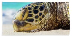 Sea Turtle Resting At The Beach Hand Towel