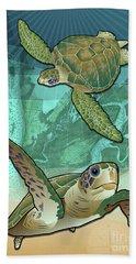 Sea Turtles Near Beaufort, Sc Hand Towel