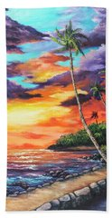 Hand Towel featuring the painting Sea Wall Lahaina by Darice Machel McGuire