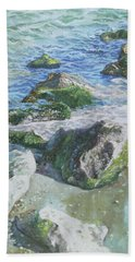 Sea Water With Rocks On Shore Bath Towel by Martin Davey