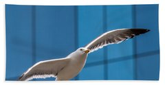 Seabird Flying On The Glass Building Background Bath Towel