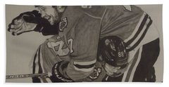 Bath Towel featuring the drawing Seabs Scores The Winner by Melissa Goodrich