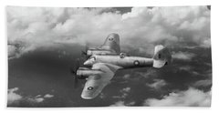 Bath Towel featuring the photograph Seac Beaufighter Bw Version by Gary Eason