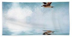 Seagull In Flight Hand Towel by Cyndy Doty