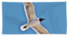 Seagull In Flight Hand Towel by Gina O'Brien
